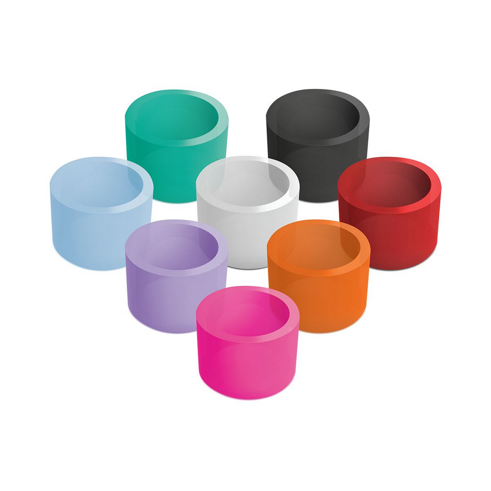 SILICONE RINGS FOR CODING INSTRUMENTS - AC - BLACK - HEXAGONAL120 units   1 organizer case for silic