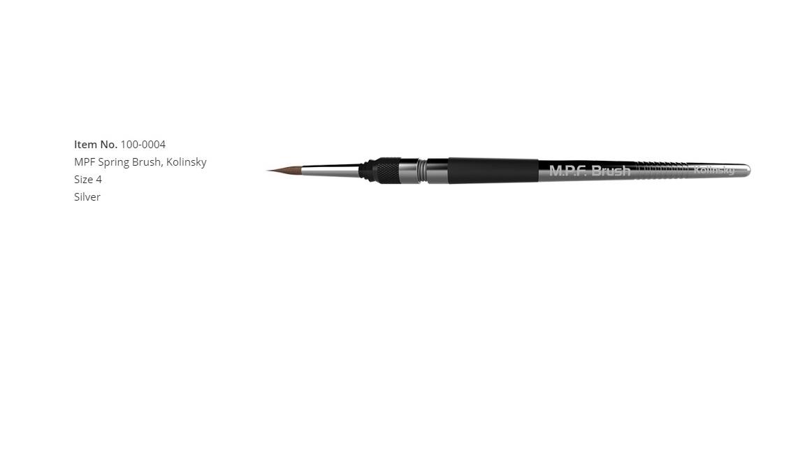 MPF Spring Brush, Kolinsky Size 4, Silver