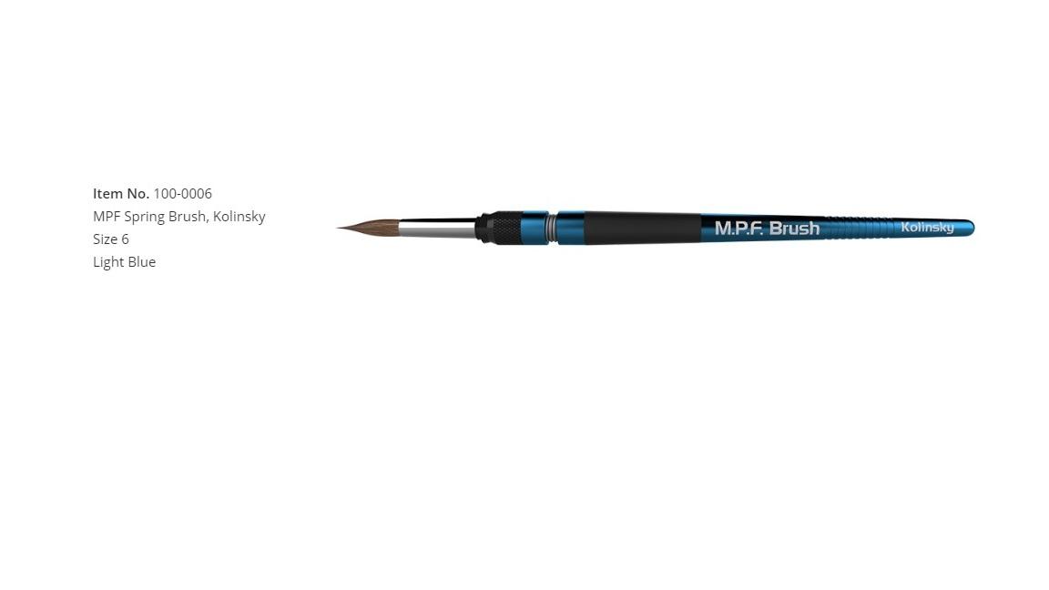 MPF Spring Brush, Kolinsky Size 6, Light Blue