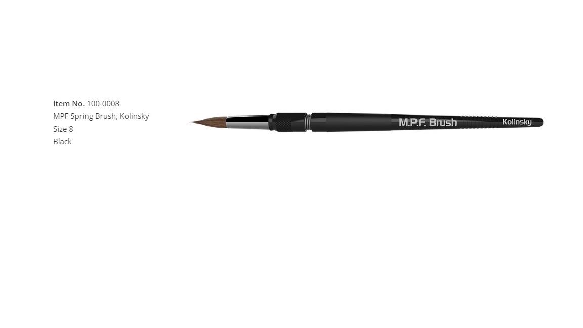 MPF Spring Brush, Kolinsky Size 8, Black